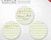 "Gold Chevron Stickers - 2"" Round Label Templates Silhouette Cut or Avery Sticker Stock - Sticker Envelope Seals Labels Stickers Invitation"
