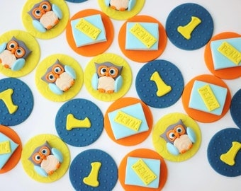 Owl cupcake toppers. Fondant owl toppers - edible owl cupcake toppers - fondant number - owl party - owl toppers - owl cake - first birthday