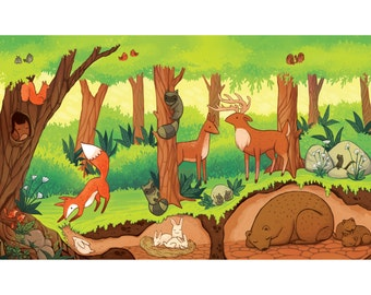 forest ecosystem print, Children's room artwork, educational, 8.5 by 11 artwork
