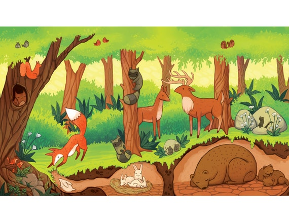 forest ecosystem print Children's room artwork
