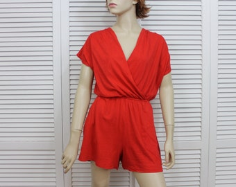 Vintage Romper Playsuit Red Size Small/Medium 1980s