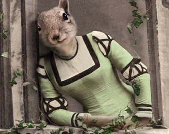 Freida, Squirrel Art Print,  Anthropomorphic, Whimsical Squirrel, Wildlife Art, Squirrel Photo Collage, Funny Squirrel, Quirky Art