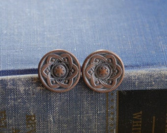 8 pcs Copper Patina Distressed Shank Buttons 15mm (CB2791)