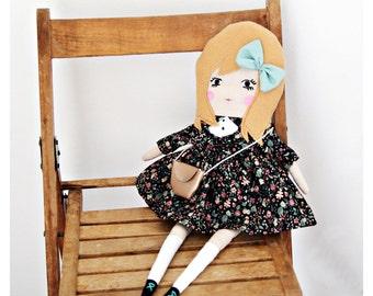 """SIENNA, 20"""" rag doll, cloth doll, stuffed toys, stuffed doll, felt stuffed dolls, rag dolls, cloth dolls, handmade dolls, girls gift idea."""