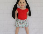 Cool Afternoon Red Knitted Top Blue Strawberry Skirt - Dolls clothes to fit Australian Girl dolls