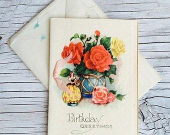 Vintage Birthday Card, circa 1940/50s Birthday Greetings card with roses.