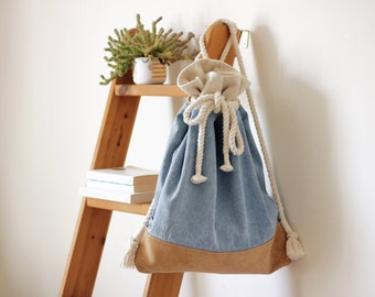 Stone Washed Denim + Cork Leather Backpack With Cotton Rope straps / Denim Backpack / Vegan Leather Bag / Vegan backpack
