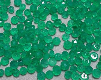 Bright Green Onyx Faceted Roundelle Gemstone Beads  4mm