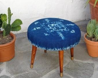 Vintage Round Mid Century Footstool with Hand Dyed Indigo Fabric Modern Foot Stool Tapered legs Nui Shibori
