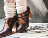 SKYLIGHT. Brown leather booties / brown shoes / oxford booties / women leather shoes. Sizes 35-43. Available in different leather colors
