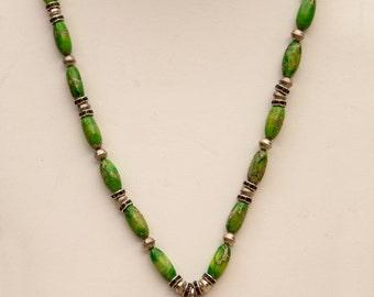 Green Jasper Necklace with a Gaspeite Triangle Pendant