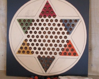 Handmade Wood Chinese Checkers Game Set - Blue, Wall Art and Game
