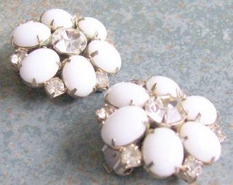 Vintage Milk Glass Rhinestone Flower Cluster Clip Earrings 1950s