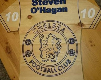 Wood engraved custom name with Chelsea Fc logo