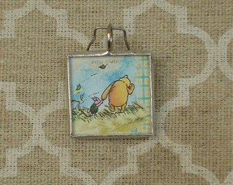 Winnie The Pooh and Piglet storybook charm pendant soldered glass art pendant charm