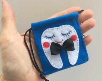 Tooth fairy bag Blue boys tooth fairy bag Felt Tooth fairy pouch Tooth fairy sack Personalized Tooth fairy bag