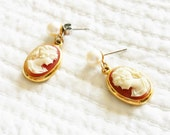 Vintage Romantic Home Amber Orange and Cafe au Lait Cameo and Pearl Post Style Earrings, Olives and Doves