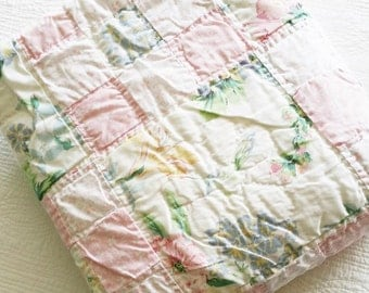 Vintage Romantic Home Handstitched Pink Blush, Celadon Green, and French Blue Floral Quilt, Olives and Doves