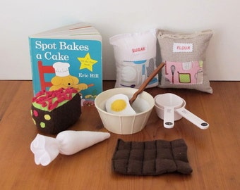 Child's Book, Felt Play Food, Toy Baking Set, Kitchen Food, Reading Book, Toddler Toy, Pretend Food, Felt Cake, Felt Flour, Play Food