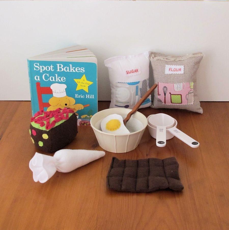 Felt Food Toys R Us : Child s book felt play food toy baking set kitchen