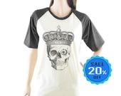 Skull Halloween Crown Tshirt graphic top women t shirt short sleeve tshirt unisex tshirt size S M L