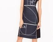 Fibonacci Sequence Dress, Math Teacher Gift, Mathematician Graduation Wear, Sacred Geometry, Golden Ratio Dress, Black Professional Dress