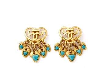 amazing vintage 1995 CHANEL gold & turquoise cabochon dangle clip on earrings ear clips