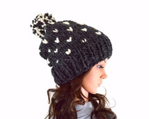 Knit Chunky Fair Isle Pom Pom Slouchy Hat Beanie Toque // The Norwich // in Charcoal and Fisherman