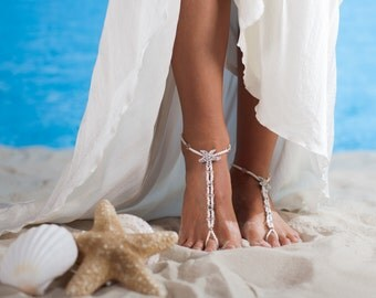 Beach wedding foot jewelry, Beaded Bridal barefoot sandals, Starfish footless sandals, Bridal shoes, Anklets, Wedding accessory Swarovski