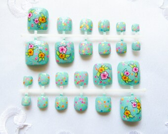 Confetti w/Flowers Fake Toenail Set, Toenails, Toe Nails, Fake Nails, Acrylic, Press on, Nails, Pedicure, Mint/Turquoise