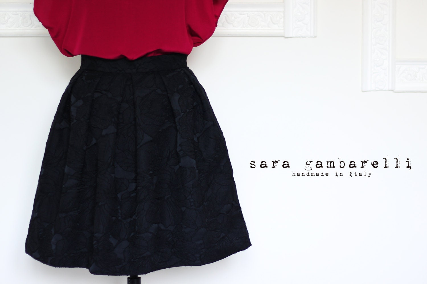 BLACK PLEATED SKIRT, black full skirt with pockets, knee skirt ...