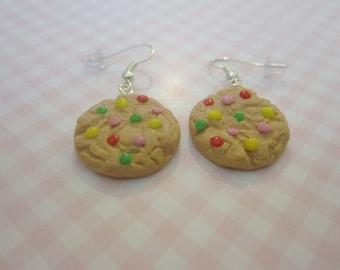 Cookie earrings, food jewelry, food earrings, chocolate chip cookie, tiny food