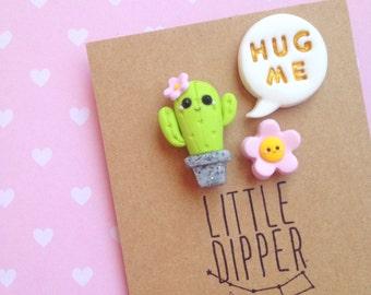 Hug Me - Cactus collar pin