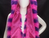 Pink and Purple Striped Cheshire Cat Scoodie Furry Spirit Hood. Festival Rave Hat Burning Man EDC Nocturnal Alice in Wonderland Cosplay