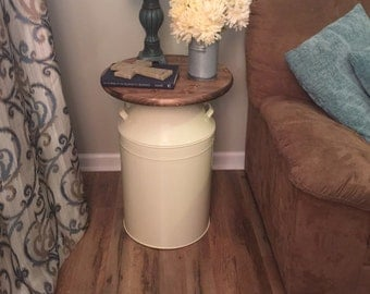 Milk Can end table, wood end table, cream milk can, end table, rustic end table, rustic table, round end table