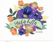 Boutique Logo Hand Painted Flowers Bright Colors | Custom Premade Design