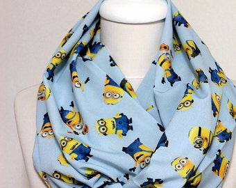 Minions Infinity scarf, Circle scarf, Loop scarf, Geek Tube Scarf, Scarves, Cowl, spring - fall - winter - summer fashion