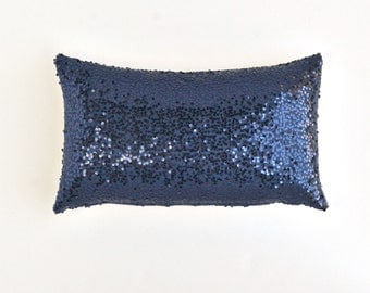 "Navy Lumbar Pillow Cover - Navy Blue Sequin Pillow - 12"" x 20"" - Decorative Pillow, Throw Pillow, Sparkly Pillow, Navy Blue Pillow"