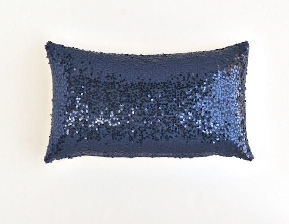 Navy And Pink Decorative Pillows: Navy Lumbar Pillow Cover Navy Blue Sequin Pillow 12