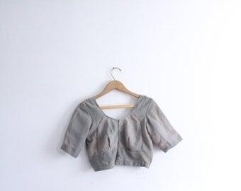 Pale Grey Indian Sari Bra Top