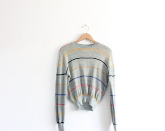 Color Striped 80s Sweater