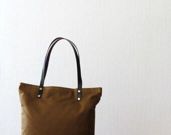 Waxed Canvas Tote Bag, Cinnamon Brown, Tote Bag Purse, Handbag, Shoulder Bag, Everyday Casual