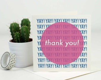 Thank You Card, Gender Neutral, Modern Greetings Card, Minimalist, Simple, Colourful, Typography Card