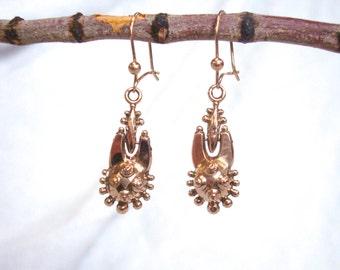 Antique Gold Earrings - Victorian 9K Etruscan Earrings - Late 1800's