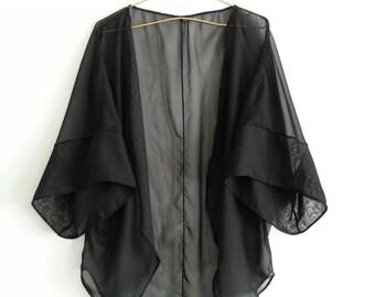 Black Swimsuit Cover Up Kimono Beach Handmade Robe Solid Chiffon