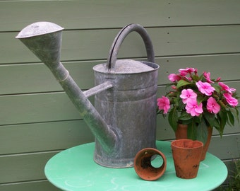 Vintage Large French Galvanised Watering Can....circa. 1950's.
