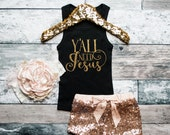 Baby Girl Clothes Y'all Need Jesus Tank Gold Baby Girl Shirt Hipster Baby Clothes Baby Gift White And Gold #48
