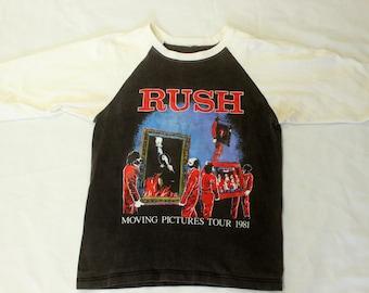 80's Rush Moving Pictures 1981 Raglan Tour T-shirt S