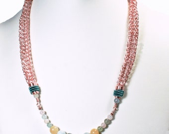 Rose Gold Colored Viking Knit Necklace with Beryl Stone Beads and Teal accents
