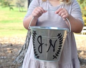 Personalized Flower Girl Pail - Painted Pail - Rustic Flower Girl - Flower Girl Basket - Here Comes the Bride - Personalized Wedding Bucket